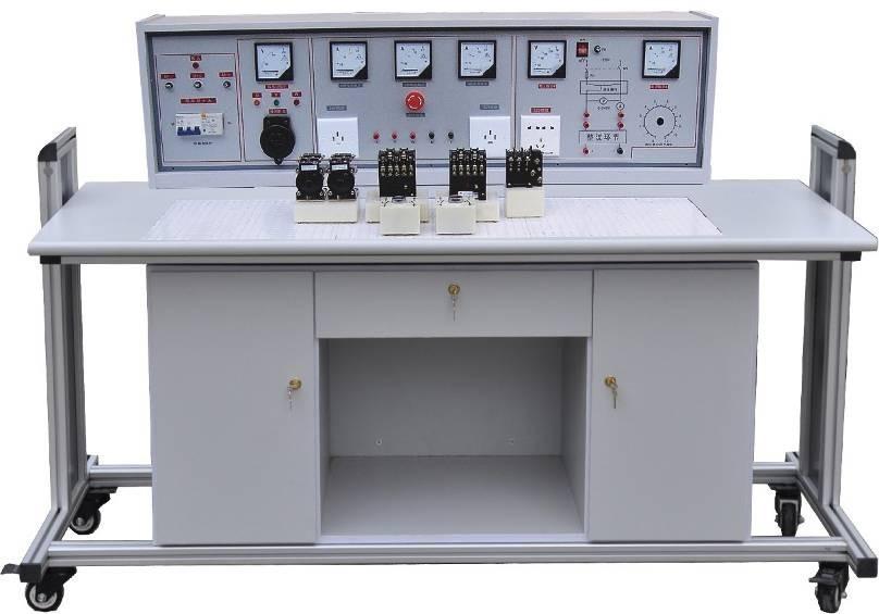 DB-18A 通用电力拖动实验室成套设备 一、研制本产品的意义: 目前国内电力拖动实验器材大多是散件、无正式实验台桌及功能齐全的电源控制柜。我厂聘请专家潜心研究,研制成功该套功能完善的实验设备,其电源控制柜具有三相漏电开关,十分醒目的带自锁急停按钮等,以保证实验人员人身及实验设备的安全。有表指示工作电流及电压、功能齐全。最巧妙的是实验元器件均已装在元件盒上,实验时不需螺丝固定仅需把元件盒随意插入通用底板即可连线实验,大大提高实验速度。示教台上立式演示屏能使学生非常清楚的视听教师讲解。该套设备是实验室更新换